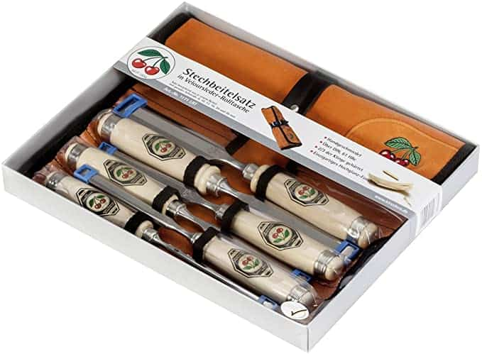 Two Cherries 500-1575 6-Piece Chisel Set with Custom Leather Roll - Wood Chisels